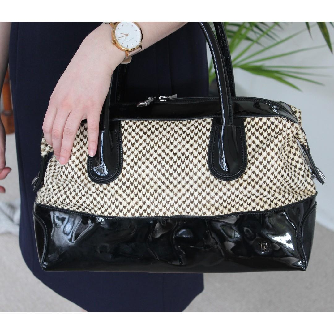 David Lawrence leather bag - black patent leather & hounds tooth