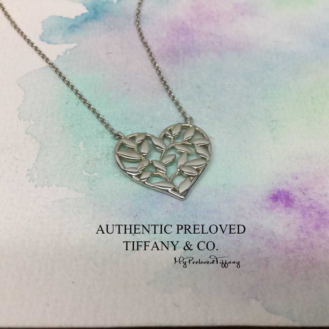 0e484f57d Excellent Authentic Tiffany & Co Paloma Picasso Olive Leaf Heart ...