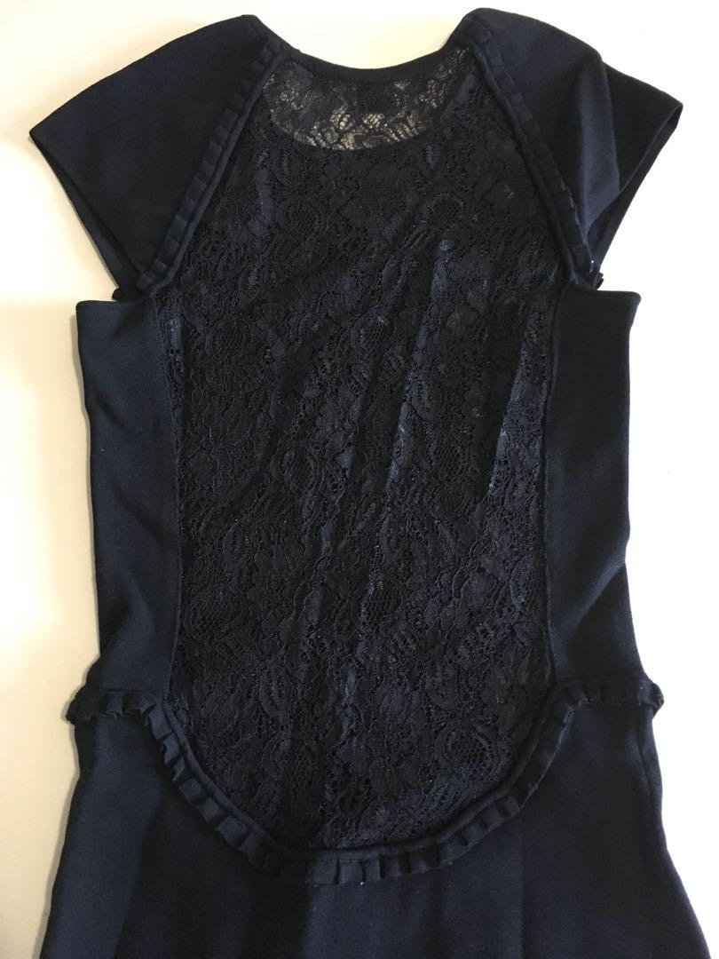 French Connection Black Floral Lace Back (Size 6 USA)