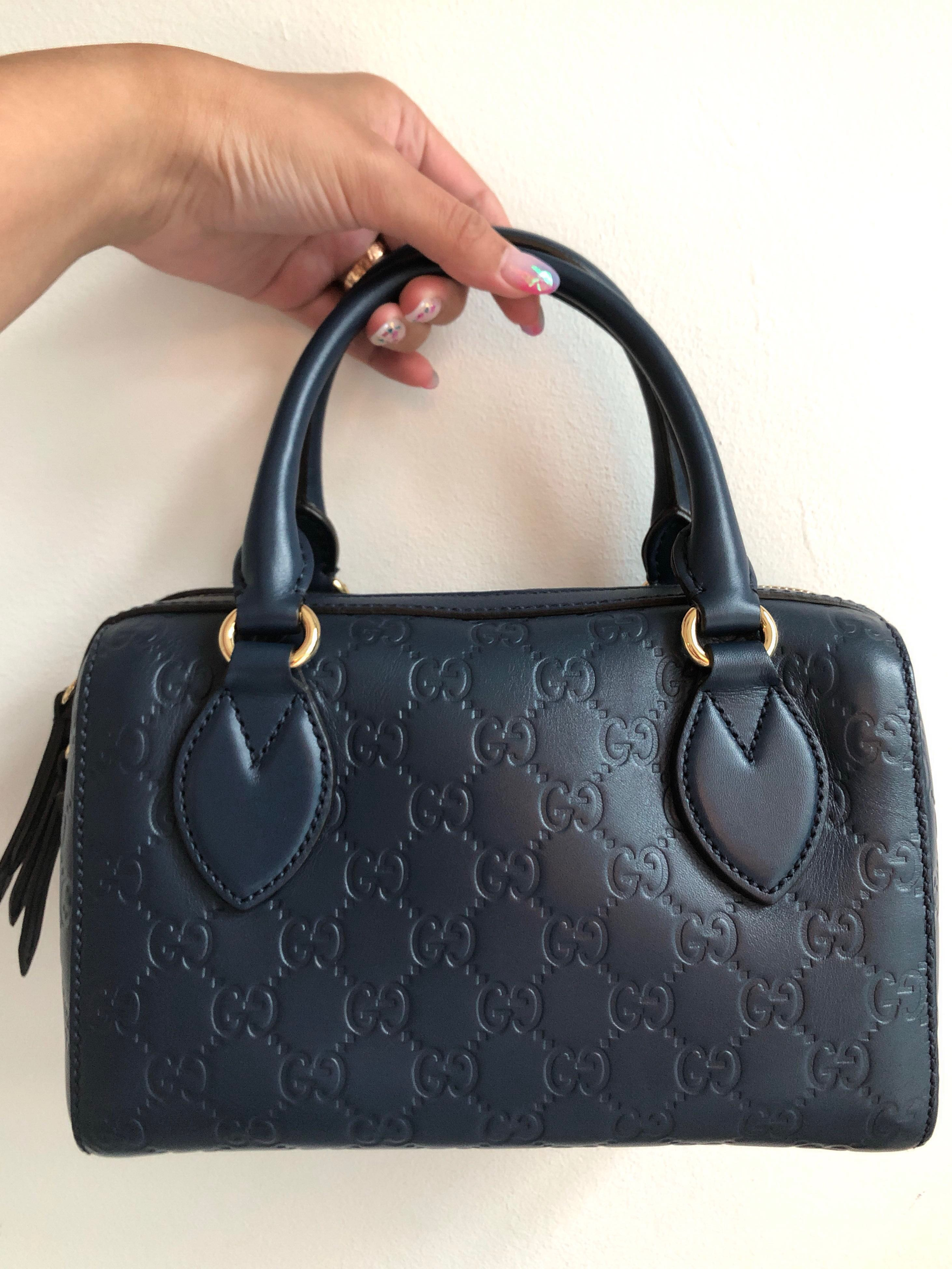 8287a8d88 Gucci Guccissima Signature Boston bag (Blue), Luxury, Bags & Wallets,  Handbags on Carousell