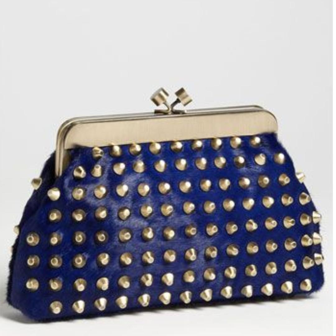 House of Harlow Blue Tilly Clutch Royal Blue Faux Fur & Gold Studs