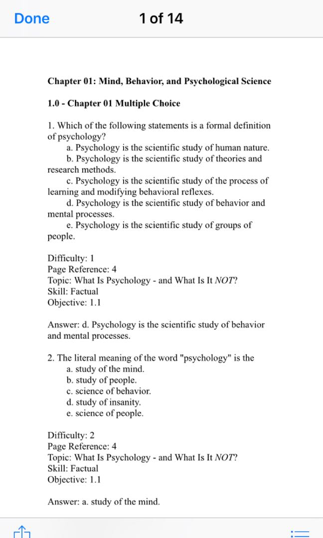 Psychology Chapter 1 Test Multiple Choice