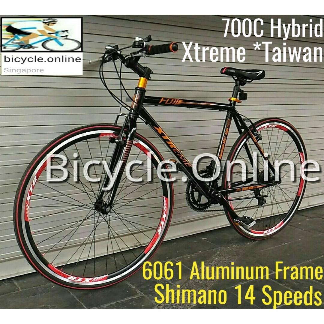 Sold out, pending restock!    ...Hybrid 700C Road Bike ✩ 6061 Aluminium Frame ✩ Shimano 14 Speeds ✩ Brand new bicycle, XTREME *Taiwan