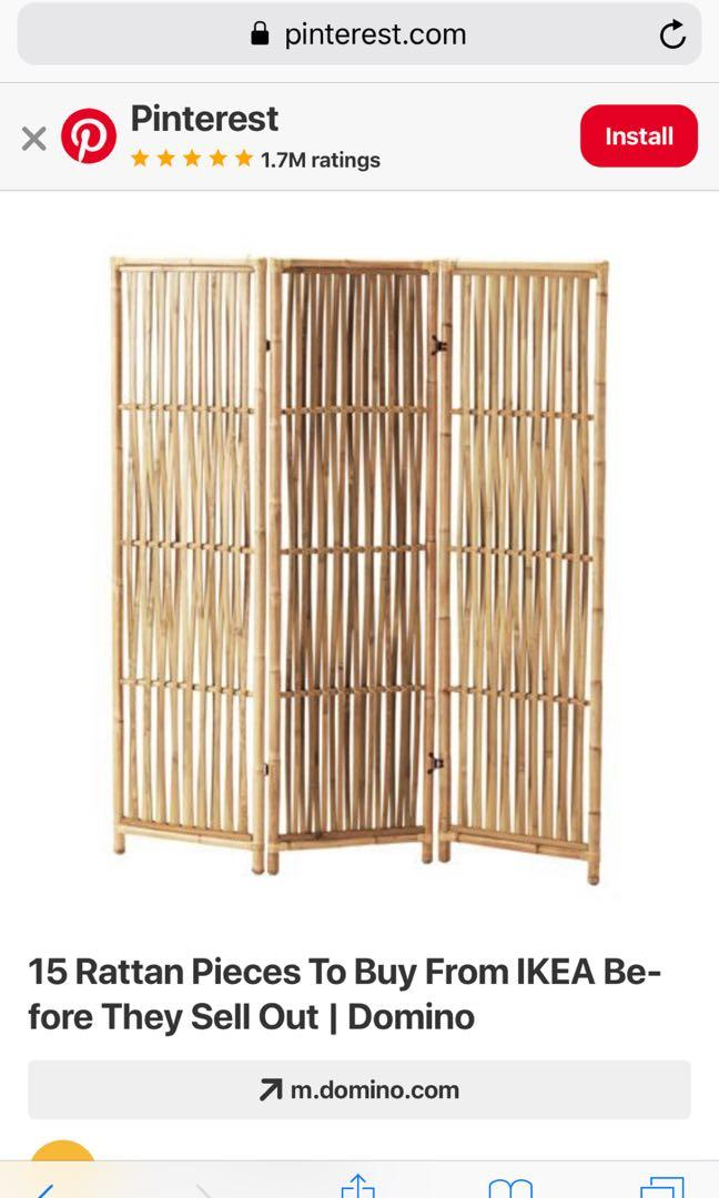 IKEA JASSA Collection Bamboo Room Divider, Furniture, Home