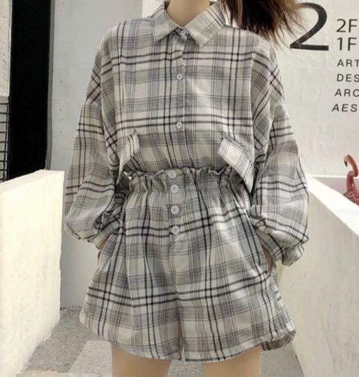 Korean Plaid Shirt Jacket + Shorts