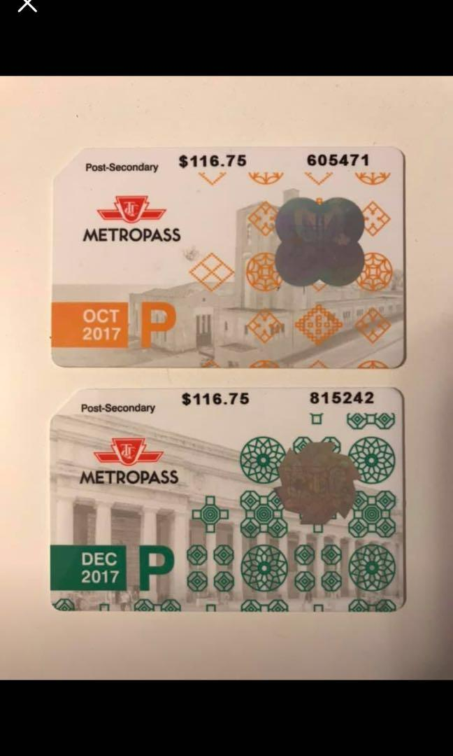 Metro pass post-secondary 2017-2018 collectible