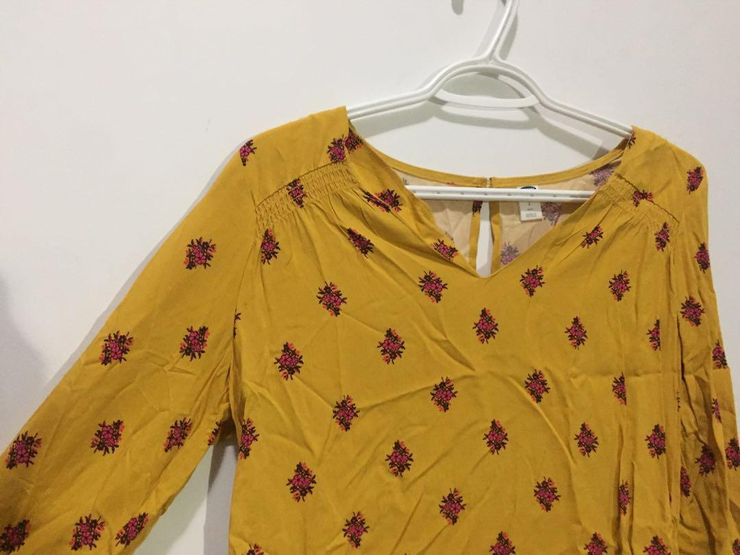 Mustard yellow, cotton, 3/4 sleeve, with purple floral print