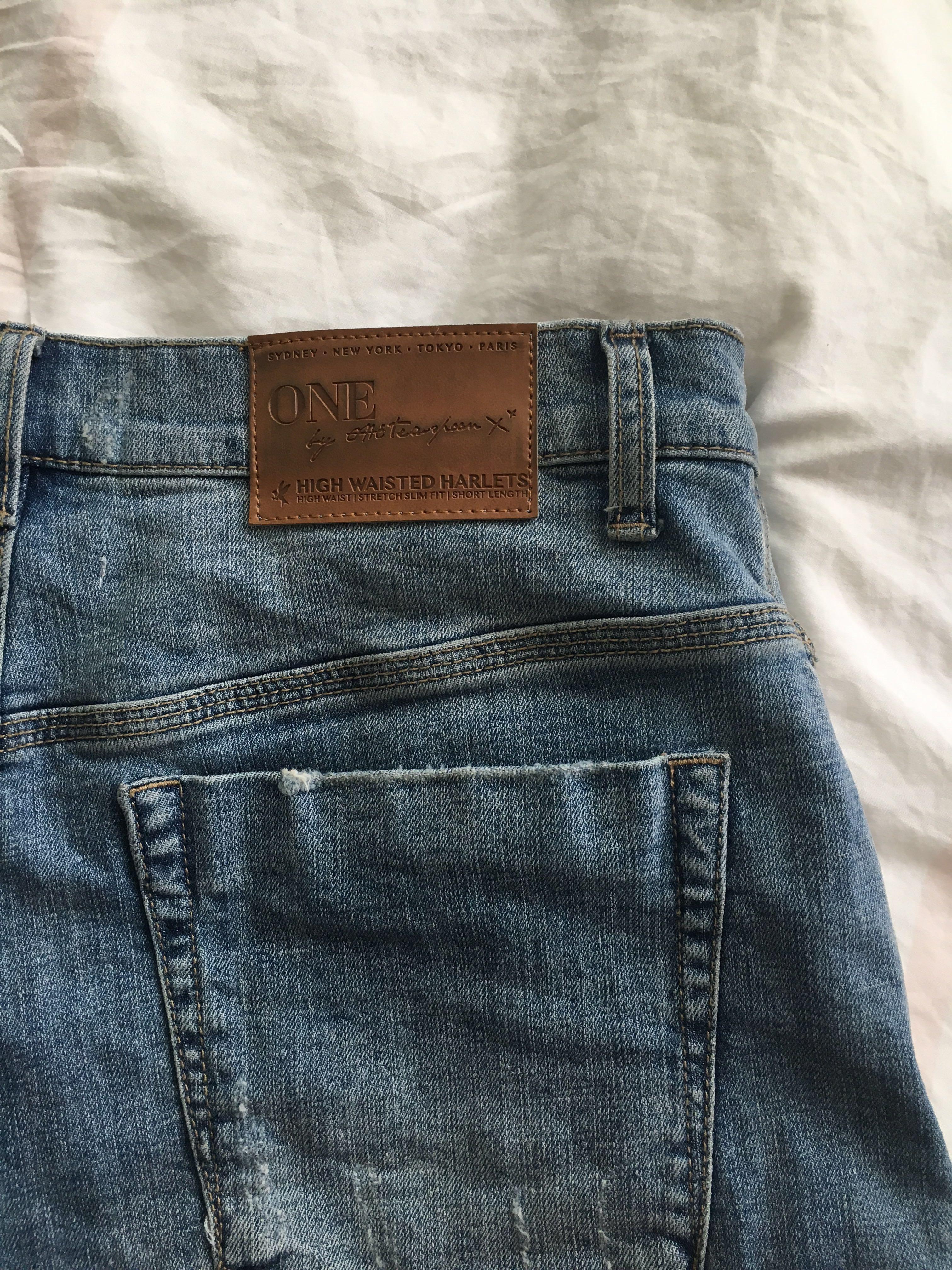 One Teaspoon Designer High Waist Denim Shorts Mid Wash