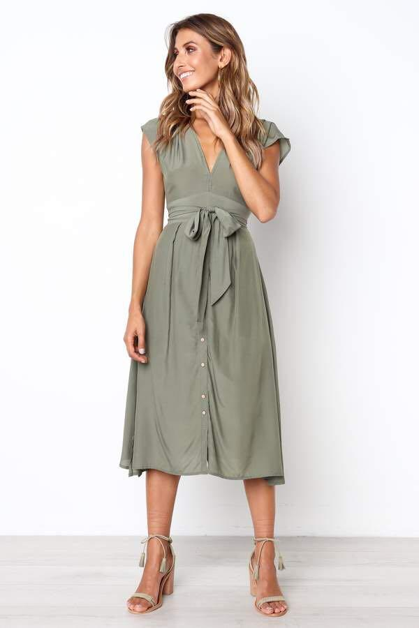 Petal and pup Khaki Midi Dress Valencia Sold out 8 S