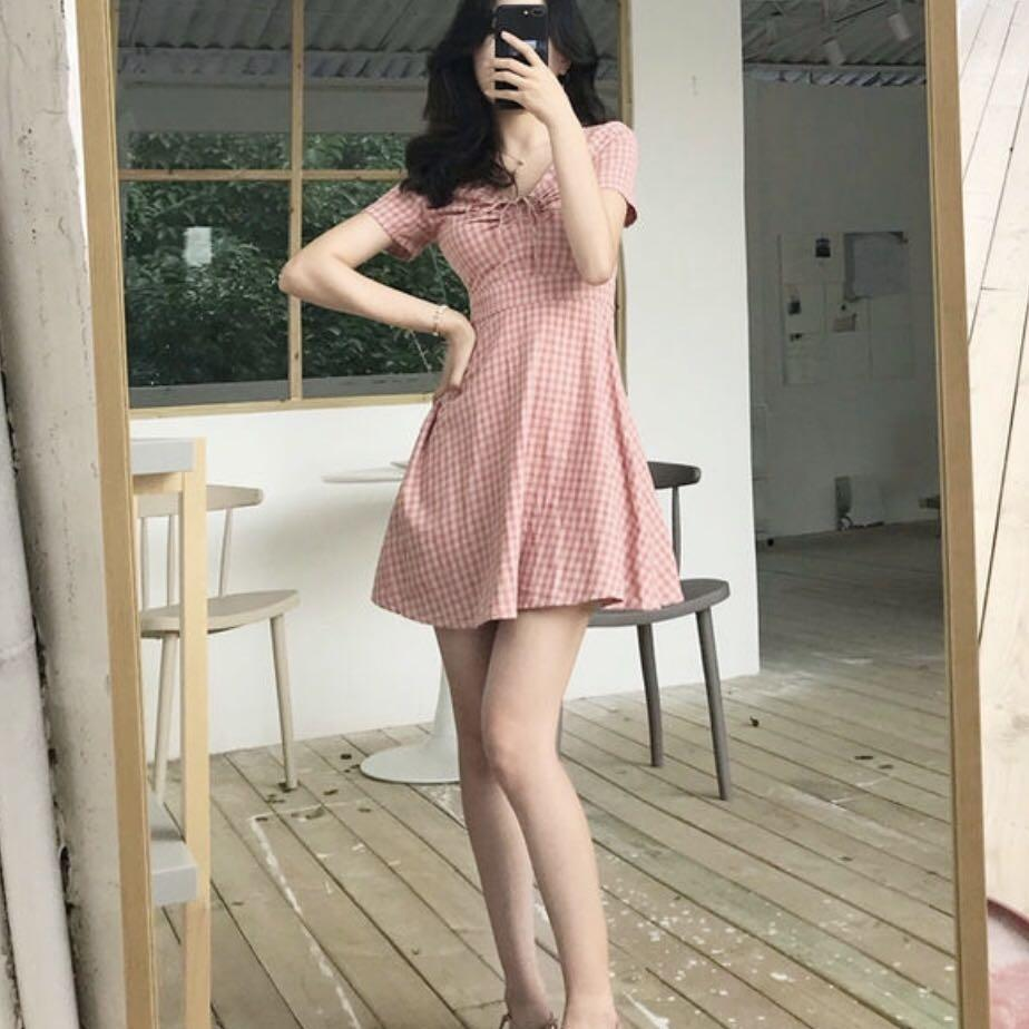 Pink / red checkered mini dress