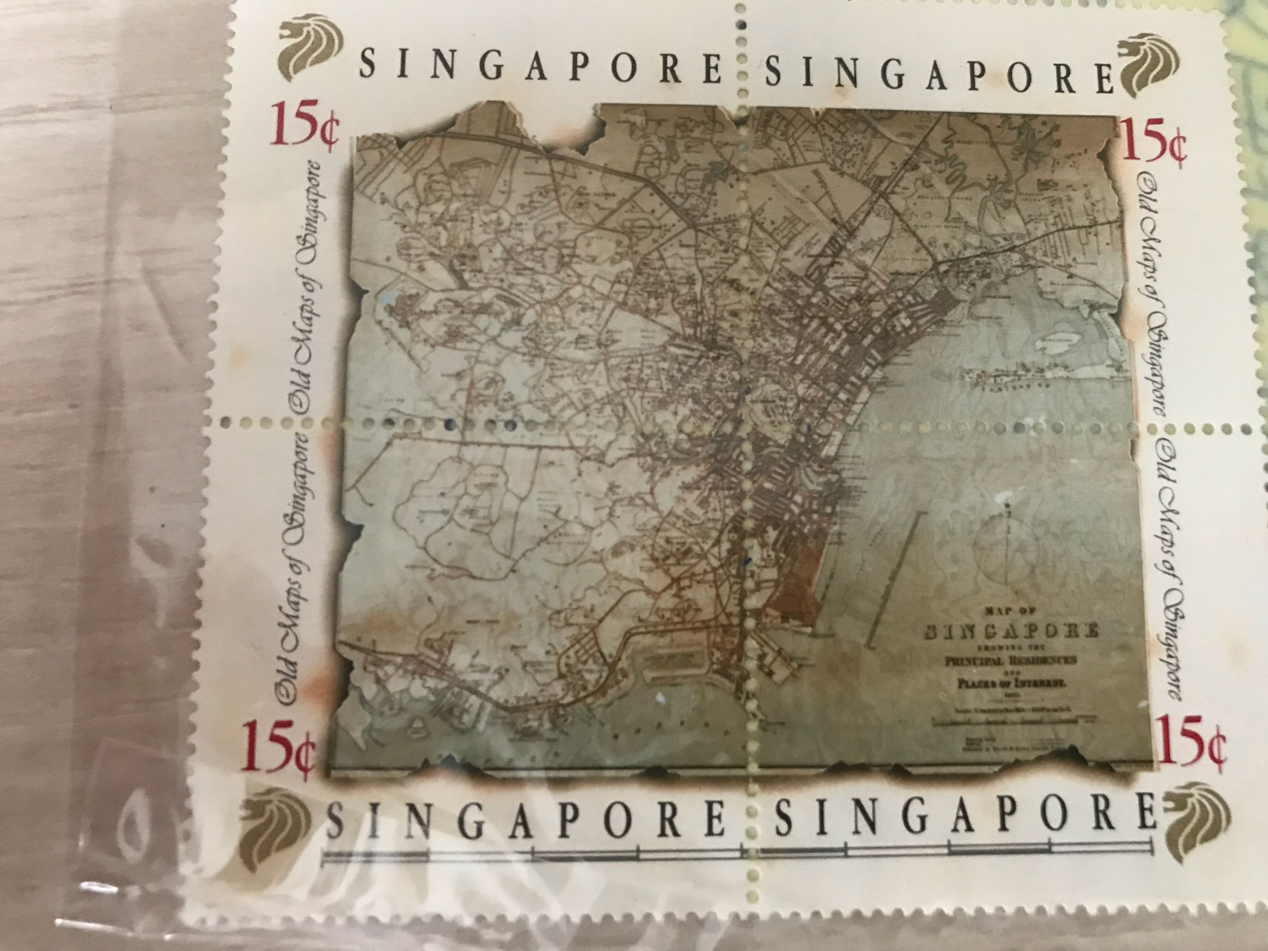 Rare Singapore Old Maps Stamps
