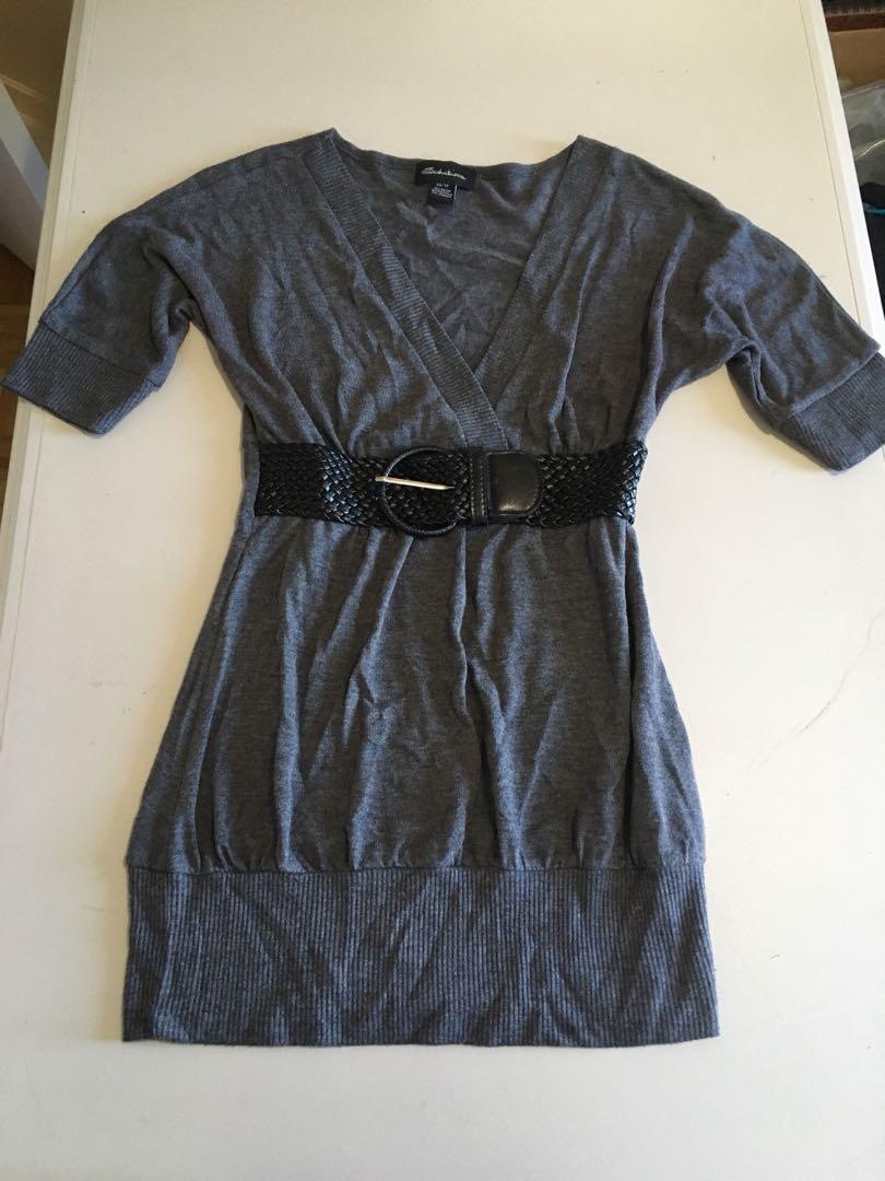 Seductions Grey V Neck Shirt with Black Belt Size XS