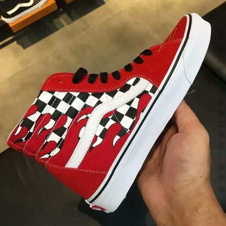 684a2ae2 Size 38 Vans Sk8-Hi Checkerboard Flame red Skate Shoes, Women's ...