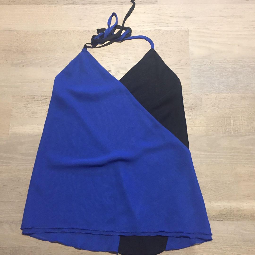 Size xxs (6) halter neck black/blue top with low back