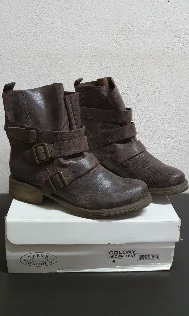 218d1d29380 Steve Madden Colony (Brown Leat) Ankle Boots - Fit size 8/8.5