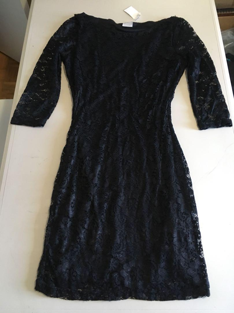 Suzy Shier Black Fitted Floral Lace Dress Size Small