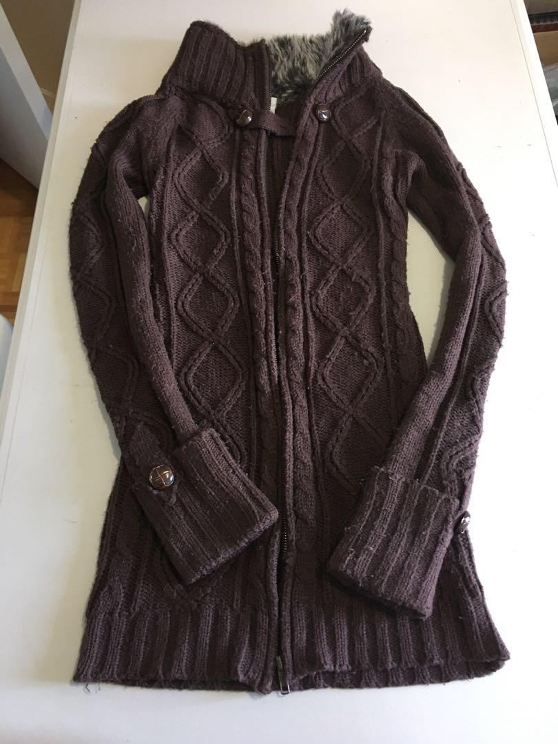Suzy Shier Brown Zip Up Sweater with Black & White Faux Fur Size XS