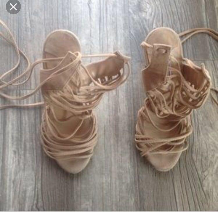 Tony Bianco 'Avar Coyote Kid Suede' nude strap heels