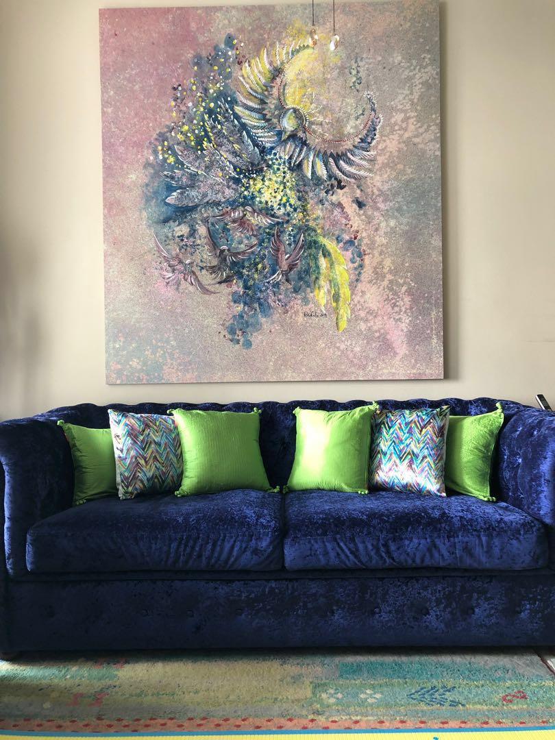 Vintage Blue Velvet Like Sofa Bed