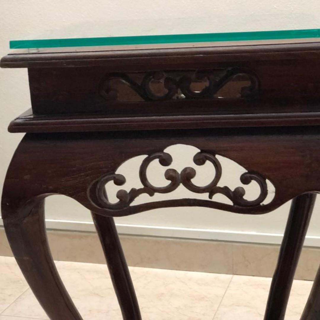 Vintage Teak Wood Console Table