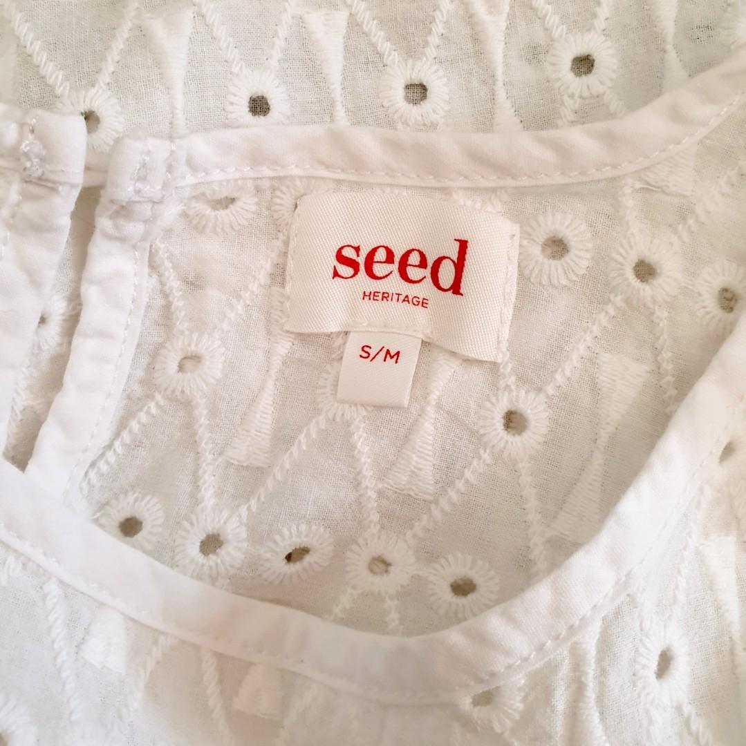 Women's size S/M 'SEED HERITAGE' Gorgeous white 100% cotton boho top - AS NEW