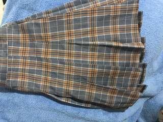 🚚 灰橘配色格紋網球短裙 百褶裙