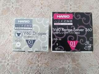 Hario V60 coffee server 360ml & Hario V60 Plastic Dripper