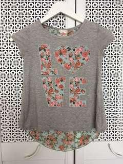 Girls gray and red floral crew neck shirt