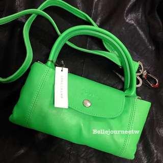連假特價💚 法國代購 Longchamp  Le Pliage Cuir 小羊皮蘋果綠 s號手袋 摺疊包 送防塵袋🇫🇷