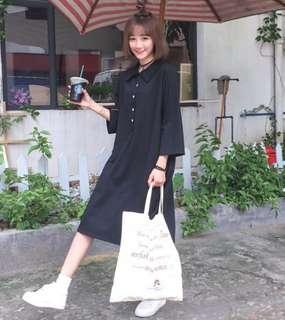 黑色暗黑風少女學生連身裙polo上衣