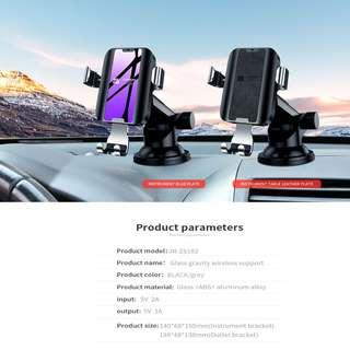 JOYROOM Metal+Glass Gravity Wireles Charger Bracket/Dashboard Mount Holder