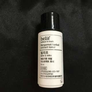 belif bergamot herbal extract toner 佛手柑平衡保濕柔膚水 20ML