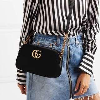BN Gucci Marmont Velvet Small Shoulder Bag