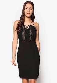 Zalora Premium Lace Insert Fitted Dress