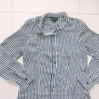 Instock! - BNIP Black x White Monochrome Striped Collared Long Sleeve Button Down Blouse Top