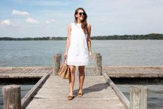 🚚 Instock! - White Lace Eyelet Crochet Sleeveless Shift Dress