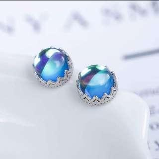 Blue Fluorescent Stone 925 Stamp Sterling Silver Stud Earrings - Brand New