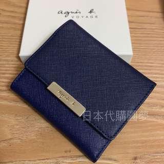 全新 agnes b. 深藍色 藍色 迷你 短夾 皮夾 扣式 防刮 撞色 雙色 牛皮 女用 保證真品 正品 薄型 三折