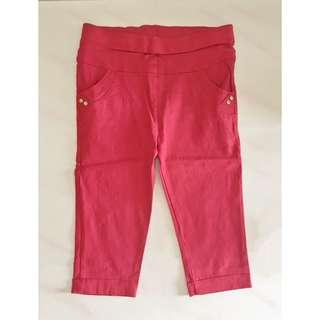 Red Stretchable 3/4 Pant