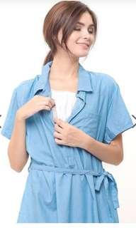Denim Nursing Dress / Baju Hamil Menyusui Mooimom