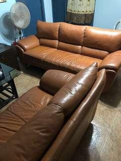 Brown Leather Sofa Set (3 seater and 2 seater)