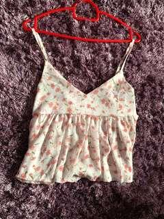 🚚 Pink white floral tank top