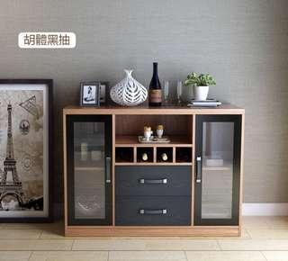 """含運含安裝含定位!""""让你輕鬆佈置你的新家""""!現代簡約餐邊櫃,雙抽儲物柜,酒櫃,專業級收納儲物,更多空間,更少浪費。"""
