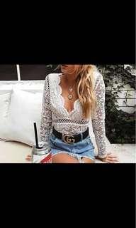 V-front white lace women bodysuit