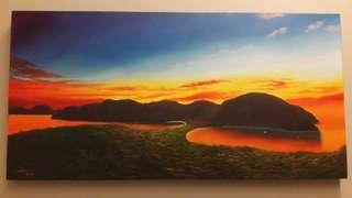 Oil Painting of Sunset at Phi Phi Island, Thailand
