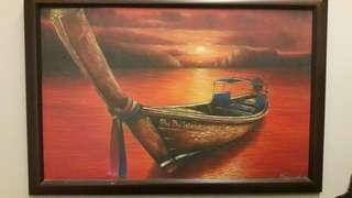 Oil Painting of Sunset at Phi Phi Island beach, Thailand