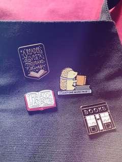 Bookish enamel pins