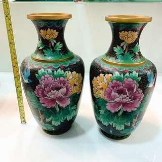 景泰藍 銅花瓶 古董花瓶一對