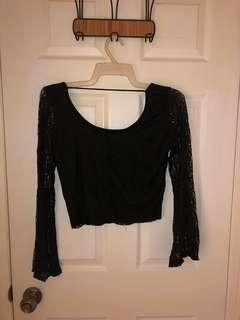 Charlotte Russe Black Lace Long Sleeve Top