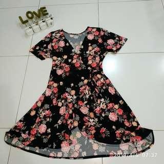 Plus Size Ruffle Wrap Around Dress